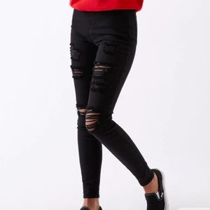 PACSUN GOOD COND STRETCHY RIPPED SKINNY DARK JEANS